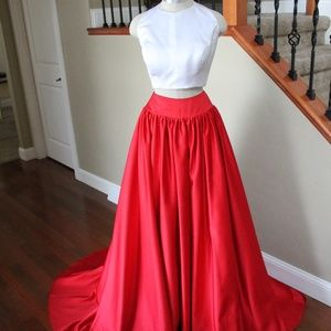 Custom Two Piece White and Red Dress